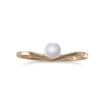 Picture of 14 Karat Gold Plated Cultured Freshwater Pearl Ring