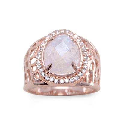 Picture of 14 Karat Rose Gold Plated Large Rainbow Moonstone Ring