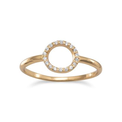 Picture of 14 Karat Gold Plated Small CZ Circle Ring