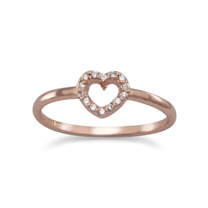 Picture of 14 Karat Rose Gold Plated CZ Heart Ring