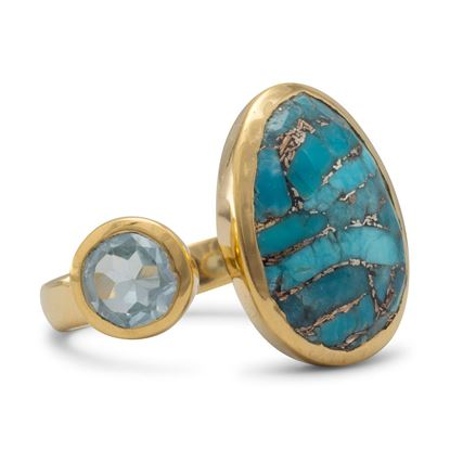 Picture of 14 Karat Gold Plated Ring with Blue Topaz and Turquoise