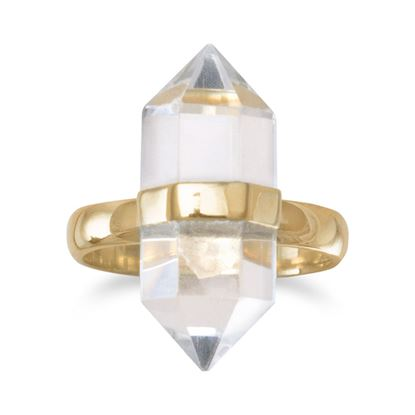 Picture of 14 Karat Gold Plated Clear Quartz Ring