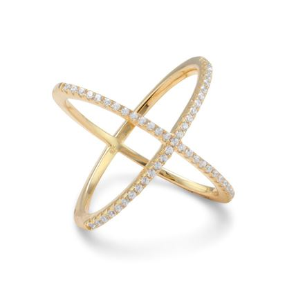 Picture of 18 Karat Gold Plated Criss Cross 'X' Ring with Signity CZs