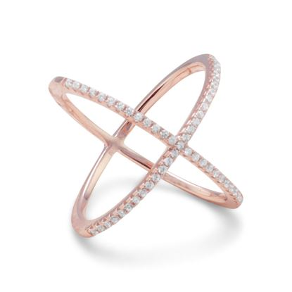 Picture of 18 Karat Rose Gold Plated Criss Cross 'X' Ring with Signity CZs