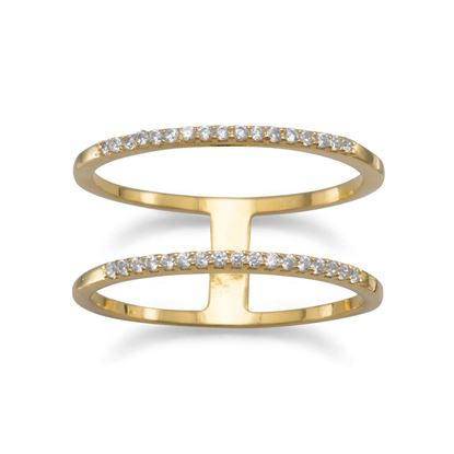 Picture of 18 Karat Gold Plated Double Row CZ Ring