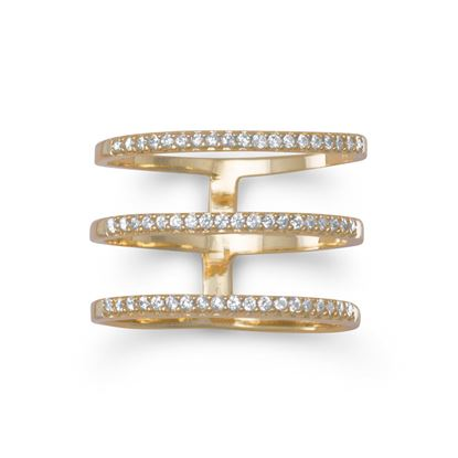 Picture of 18 Karat Gold Plated Triple Row CZ Ring