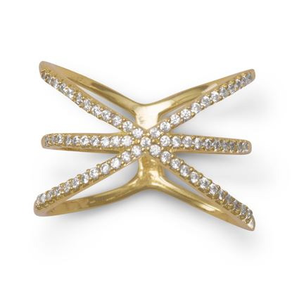 "Picture of 18 Karat Gold Plated Triple Row Criss Cross ""X"" CZ Ring"