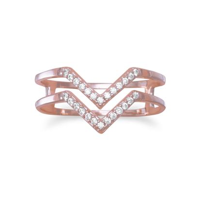 "Picture of 18 Karat Rose Gold Plated Double Row CZ ""V"" Ring"