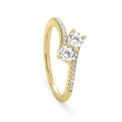 Picture of 18 Karat Gold Plated Double CZ Ring with CZ Band