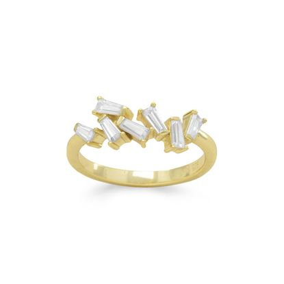 Picture of 14 Karat Gold Plated Angular CZ Ring