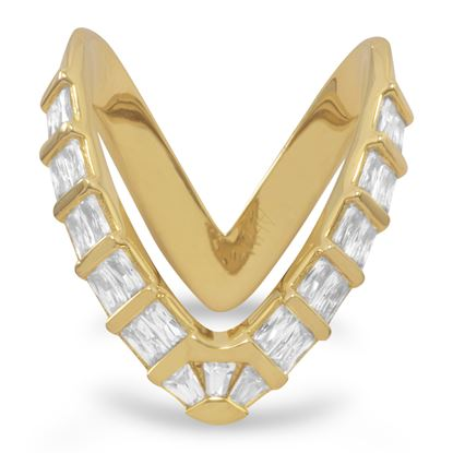 "Picture of 18 Karat Gold Plated CZ ""V"" Ring"