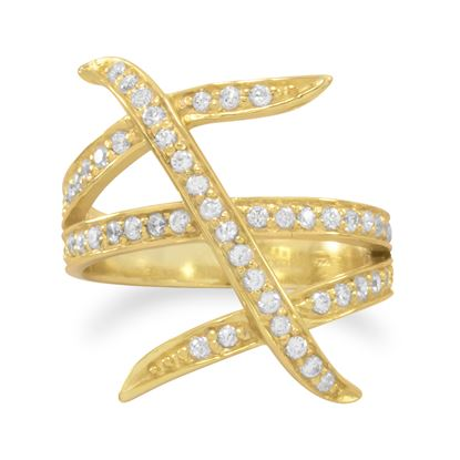 Picture of 14 Karat Gold Plated Three Row Design CZ Ring