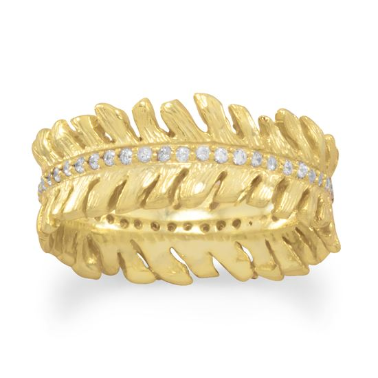 Picture of 14 Karat Gold Plated CZ Feather Band