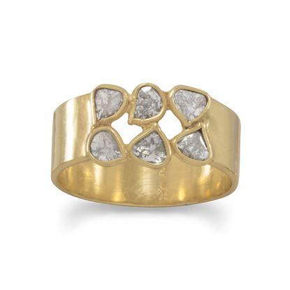 Picture of 14 Karat Gold Plated Polki Diamond Ring