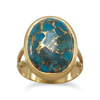 Picture of 14 Karat Gold Plated Stabilized Turquoise Ring