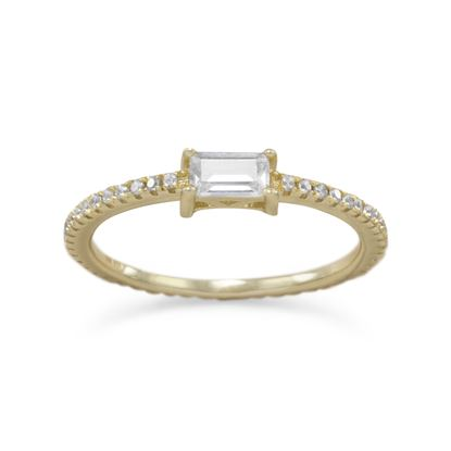 Picture of 14 Karat Gold Plated Rectangle CZ Ring