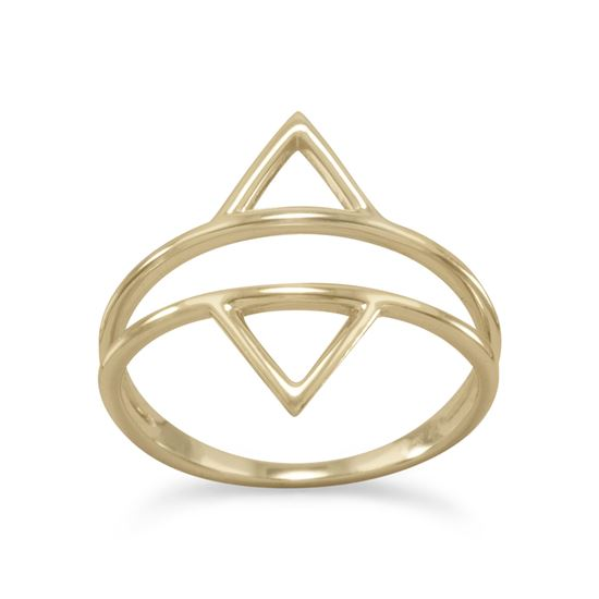 Picture of 14 Karat Gold Plated Double Triangle Ring