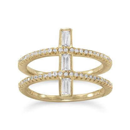 Picture of 14 Karat Gold Plated CZ Double Cross Ring