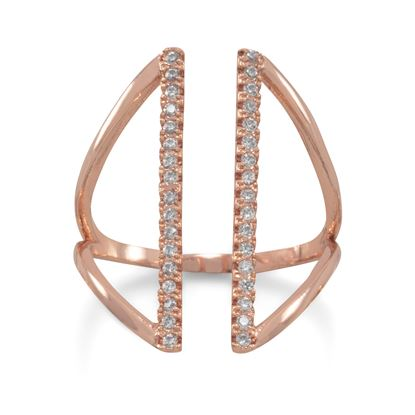 Picture of 14 Karat Rose Gold Plated CZ Bar Fashion Ring
