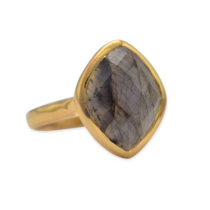 Picture of 14 Karat Gold Plated Marquise Labradorite Ring