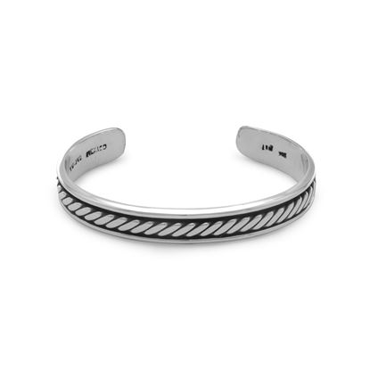 Picture of Oxidized Men's Cuff Bracelet with Rope Design