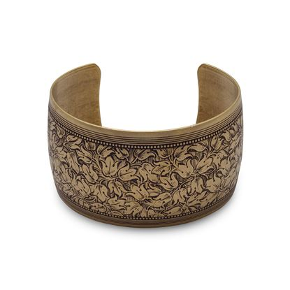 Picture of Oxidized Brass Cuff with Floral Design