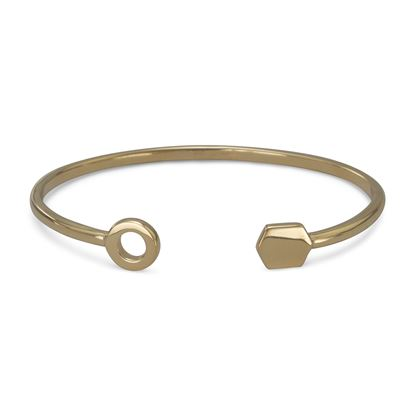 Picture of 14 Karat Gold Plated Cuff Bracelet with Multishape Ends