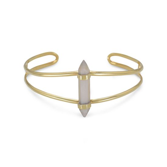 Picture of 14 Karat Gold Plated Split Cuff with Gray Moonstone Spike