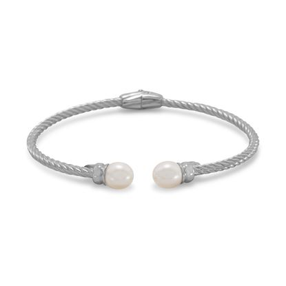 Picture of Rhodium Plated Cuff Bracelet with Cultured Freshwater Pearl Ends