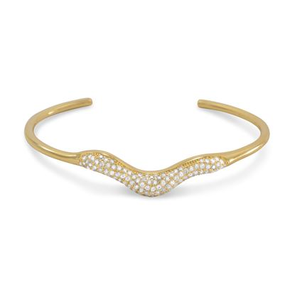 Picture of 18 Karat Gold Plated Signity CZ Wave Design Cuff