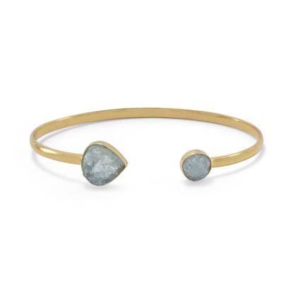 Picture of 14 Karat Gold Plated Aquamarine Open Cuff Bracelet