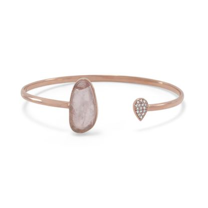 Picture of 14 Karat Rose Gold Plated Rose Quartz and CZ Open Cuff Bracelet