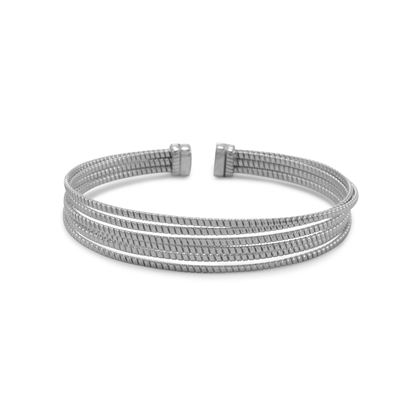 Picture of Rhodium Plated 6 Row Cuff Bracelet