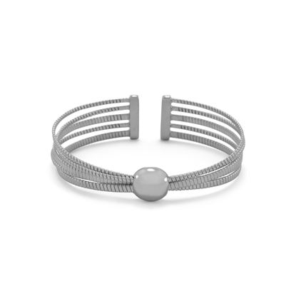 Picture of Rhodium Plated 5 Row Cuff Bracelet With Dome Center