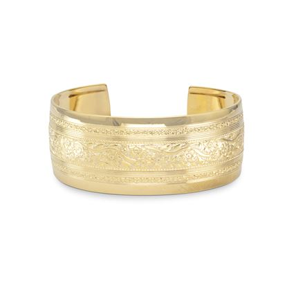 Picture of 14 Karat Gold Plated Brass Floral Fashion Cuff Bracelet