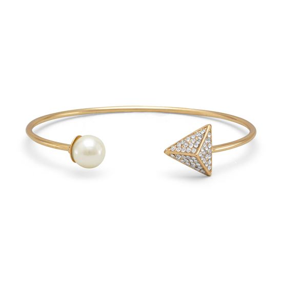 Picture of Gold Tone Fashion Cuff Bracelet with Imitation Pearl and Crystal Ends
