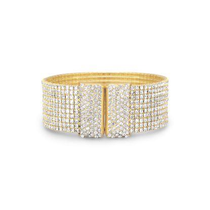 Picture of Glamorous Gold Tone Crystal Flex Cuff Fashion Bracelet