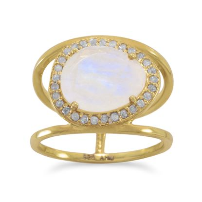 Picture of 14 Karat Gold Plated Rainbow Moonstone and Gray Diamond Ring