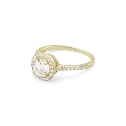 Picture of 10 Karat Gold Halo Style Ring with White Topaz and Sapphires